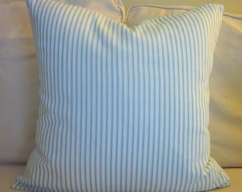 """Aqua Ticking Pillow Cover, Decorative Pillow,  20"""", 18"""", Aqua and White"""