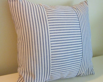 """Navy Blue Ticking Pillow Cover, Decorative Pillow,  20"""" and 18"""",  Dark Blue and Off-White"""