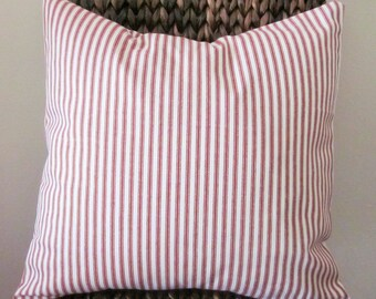 """Red Ticking Pillow Cover, Decorative Pillow,  20"""", 18"""", 16"""" 14"""", Red and Off-White"""