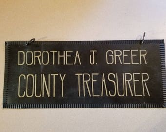 Vintage Hand Painted Sign Livingston County Treasurer Howell Michigan