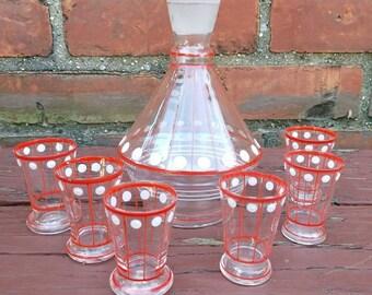Vintage Art Deco Cordial Glass Set Barware Cordial Set