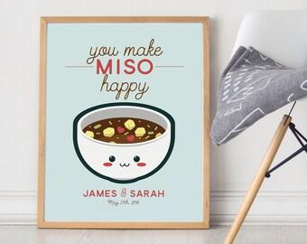 Sushi Wedding Print - You Make Miso Happy - Funny kawaii kitchen wall decor art - japanese food rice fish food modern quote sign cute aqua