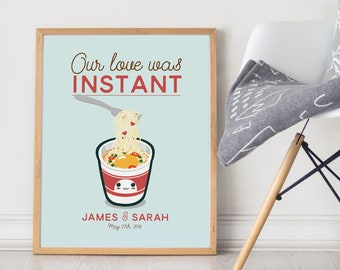 Ramen Noodles Wedding Print - Our Love was Instant - Funny kawaii kitchen wall decor art - japanese food soup cup modern quote cute aqua