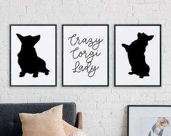 Crazy Corgi Lady - Set of 3 Printables - Dog lover, black, white, modern, minimal, quote, saying, pet, gift, puppy, art, Instant download