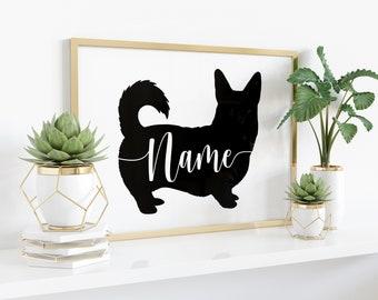 Custom Corgi Art Print - Personalized Name - Pembroke, Cardigan Welsh, Merle, With Tail, black, white, modern pet dog silhouette, UNFRAMED