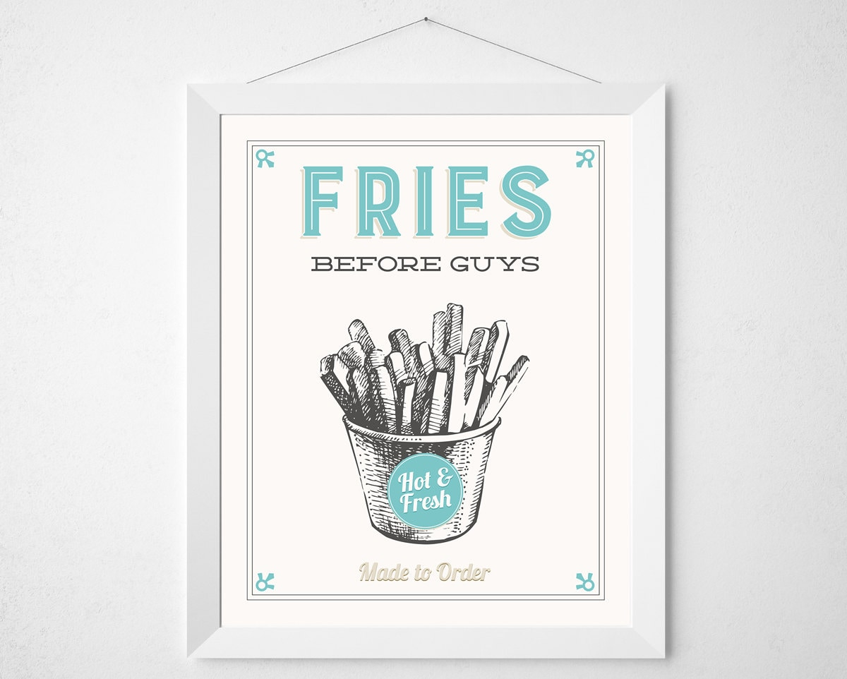 Kitchen French Fries Print Fries Before Guys Retro Aqua Etsy