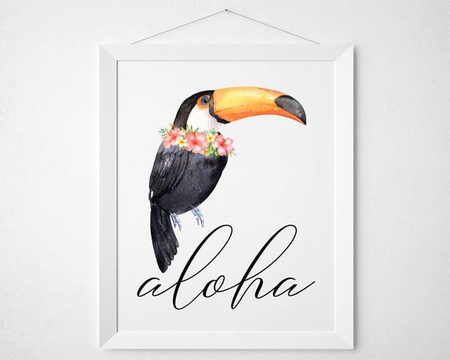 Tropischen Tukan Printable Aloha druckbare Kunst | Etsy