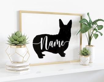 Custom Corgi Art Print - Personalized Name - Pembroke Welsh, No Tail, black, white, modern minimal pet dog silhouette, corgis gift, UNFRAMED