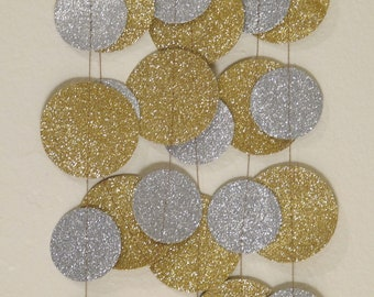 Gold and Silver Glitter Paper Garland: Wedding or Christmas Garland