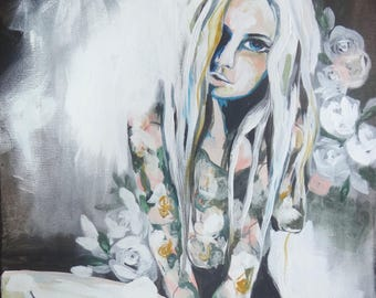 Original painting In Doubt - Floral female fashion mixed media art