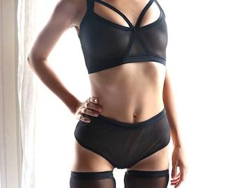 BDSM lingerie - black lingerie set - black lingerie - sheer lingerie - women lingerie set - bralette - bra - panties- underwear- see through