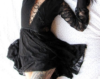Gothic Clothing - BDSM - lingerie- BDSM clothing- sheer dress- lingerie dress- sheer- see through dress- womens clothing -Recherche Clothing