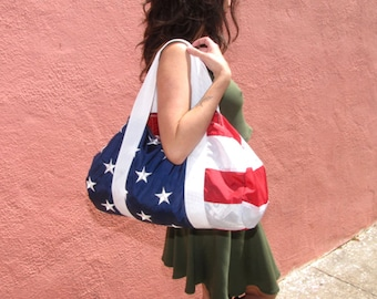 American Flag Duffel Bag - yoga bag - weekender bag - USA flag bag - red white blue - upcycled clothing - unisex workout gym bag - handmade