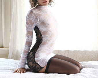 d27cb91868 Two Tone Sheer Dress   Sheer Lingerie   Lace Dress Women   Lace Lingerie  Dress   See Through Dress   Lace Lingerie   Lace Dresses   Cocktail