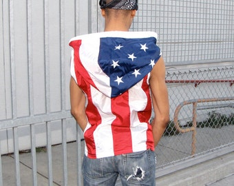 Embroidered American Flag Clothing Pull Over - mens hoodie - mens jacket - mens vest - handmade clothing - upcycled clothing