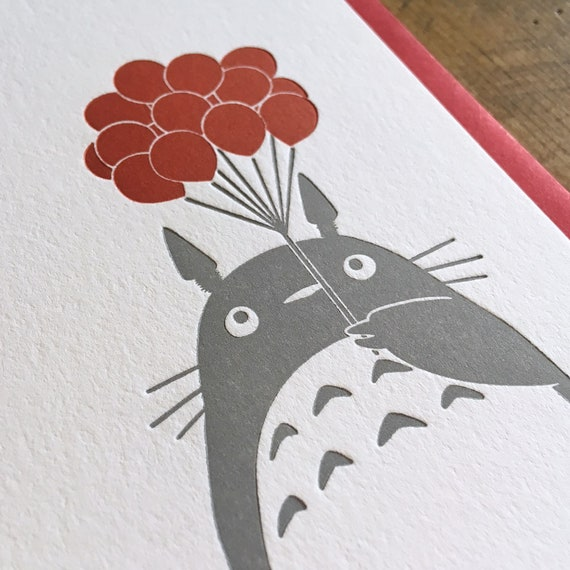 Totoro Balloons Letterpress Birthday Card Etsy