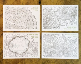 Topographical Map Letterpress Postcards - Oregon