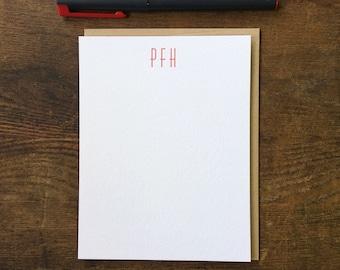 Custom Letterpress Notecards - Huxley Vertical