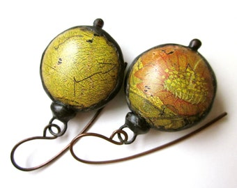 Don't Let Anybody Tell You Different - primitive distressed assemblage lime green pink flower recycled tin hollow bauble black metal earring