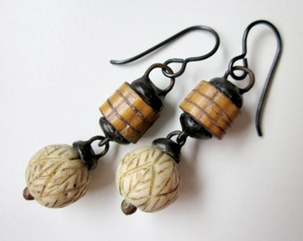 Your Soup and Your Bread - primitive assemblage cream carved bone beads, raw wood twig beads, and soldered black metal earrings