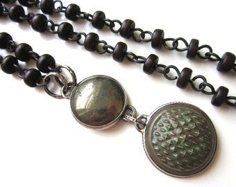 Overbrave and Overfearful - rosary long primitive teal quilted ceramic cabochon, pyrite cabochon, wood, sterling silver metalwork necklace