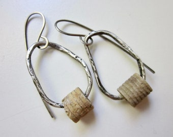 Silver Sails - organic primitive tribal beige crinoid stem fossils and rustic imperfect sterling silver metalwork hoop earrings