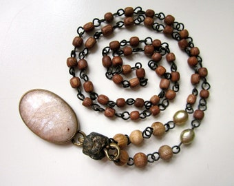 Saints Can Spring from Any Soil - rosary mid-length primitive white moonstone, African trade bead, pearl, wood, brass metalwork necklace