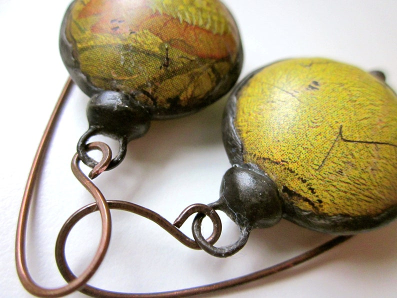 primitive distressed assemblage lime green pink flower recycled tin hollow bauble black metal earring Don/'t Let Anybody Tell You Different