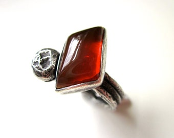 Always Playing the Angles - primitive triangular gemmy red orange Oregon common opal stone cabochon, large granule, sterling silver art ring