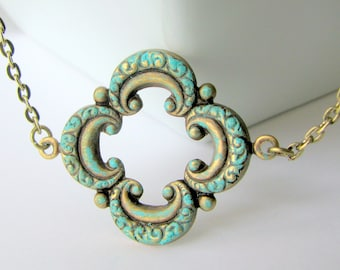 Patina Filigree Necklace - Turquoise Patina on an Ornate Brass Filigree Pendant