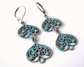 Turquoise Earrings - Patina on Copper Filigree Earrings