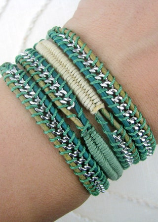 Chain Wrap Bracelet with Macrame in Fern and Champange Thread and a Button Clasp