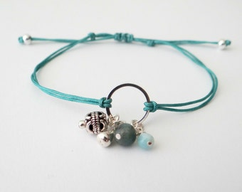 Charm String Bracelet with Semi-Precious Stones and Silver Beads