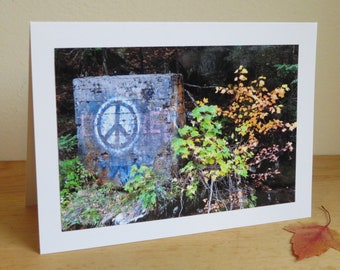 Peace & Quiet in Vermont - Peace Sign Graffiti in Woods - Inspirational / Birthday / Just Because Greeting Card