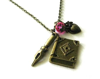 Pen nib necklace diary book pendant jewelry pink crystal and heart charm antique brass bronze vintage style