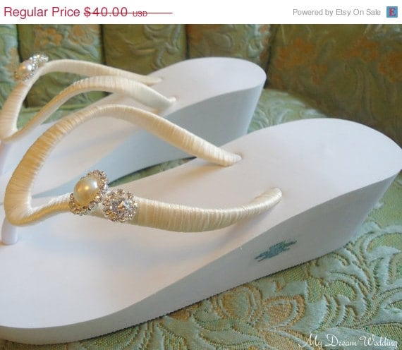 Items Similar To Ivory Wedge Flip Flops Ivory Pearls Flip Flops Accented Crystals Pearls Rhinestones Wedding Magnificent Wedge Collection 03 On Etsy