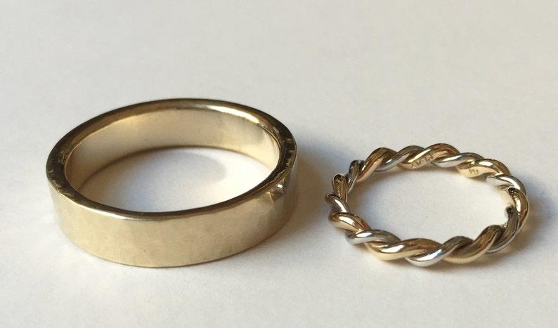 Mixed Metal Platinum and 14k Yellow gold Twist Ring Wedding image 0