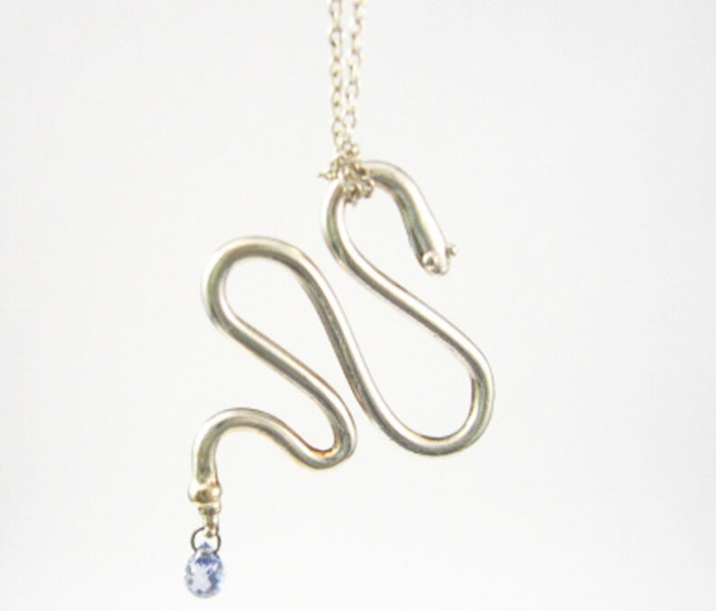 Snake Pendant with Sapphire  in Platinum Silver Serpent image 0