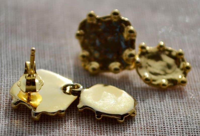 vermeil cushion studs Gold Post Wedding Dangle Earrings light weight abstract earrings