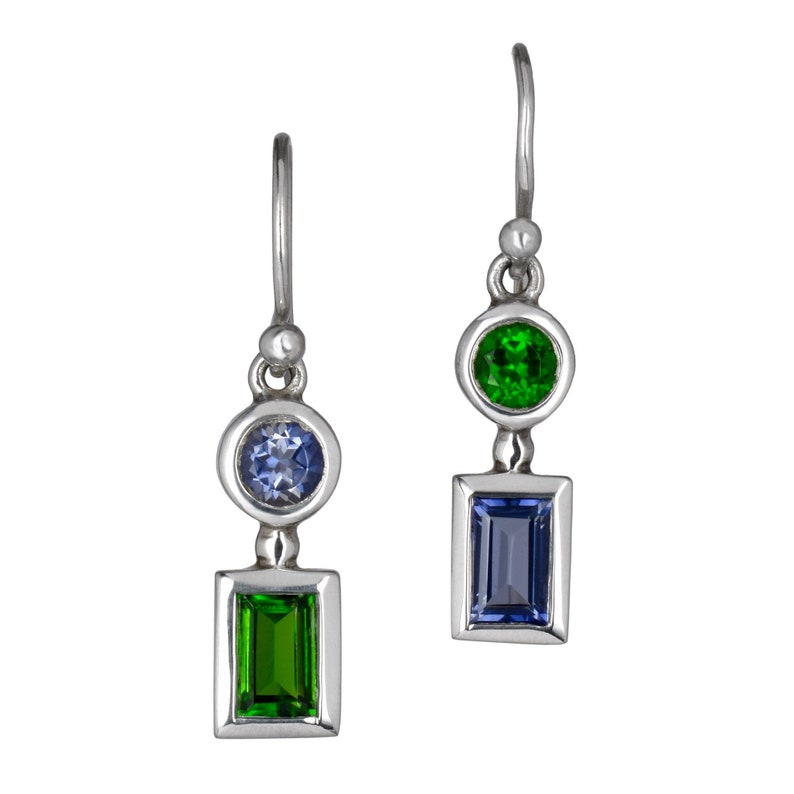Mis matched colored gemstone silver dangle earring blue image 0
