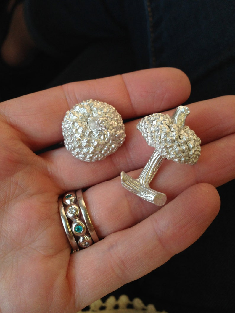 Sterling Silver Acorn Cufflinks outdoor guy accessory large image 0