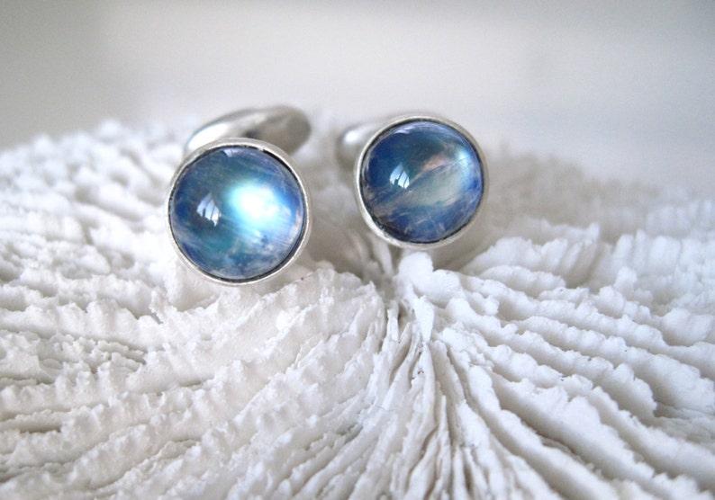 Rainbow Moonstone Sterling SIlver Cuff Links Blue Moonstone image 0