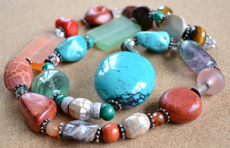 READY TO SHIP Ombre Turquoise and Multi-Gemstone Long image 0