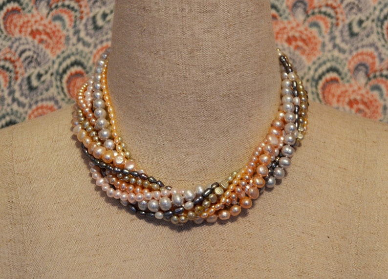Multi Strand Multi Color Freshwater Pearl Statement Necklace image 0