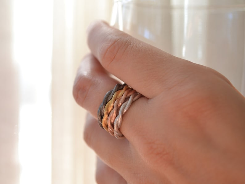 Mixed Metal set of 4 vine twisted stacking rings image 0