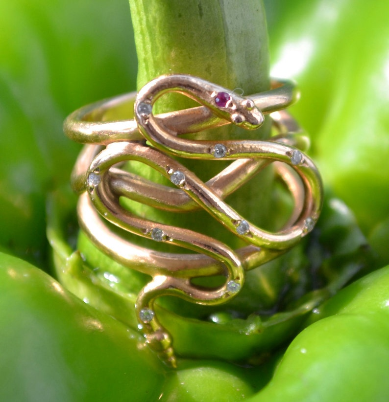 18k Gold Snake Ring with Diamonds and Ruby serpent jewelry image 0