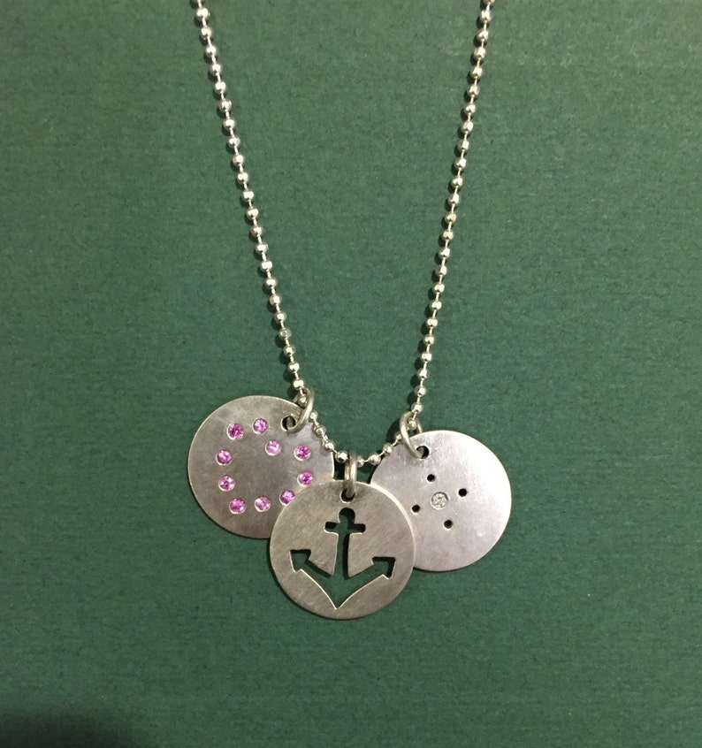 Love Hope Faith Sterling Silver Pink Sapphire and Diamond image 0