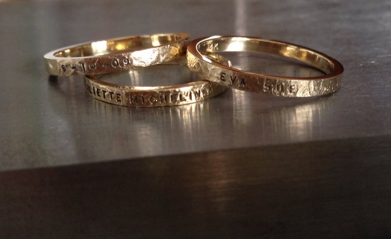 14k Gold Personalized hand stamped name rings with date Baby image 0