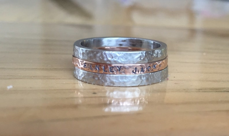 Gold Personalized hand stamped stack name rings 10 k gold image 0
