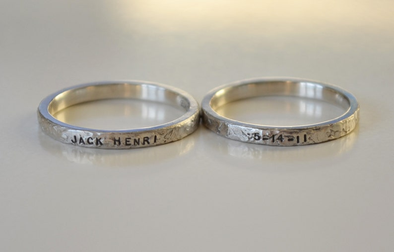 Custom Sterling Silver Personalized hand stamped name rings image 0